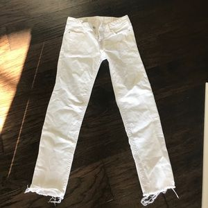 White Jeans with Frayed Ends